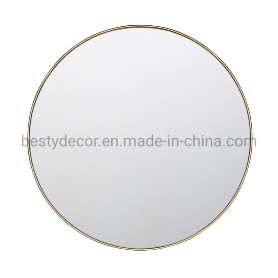 Shiny Gold Decorative Wall Mirror with Metal Frame