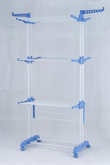 Three Layer Blue Clothes Rack Color Drying Rack with Wheel pictures & photos