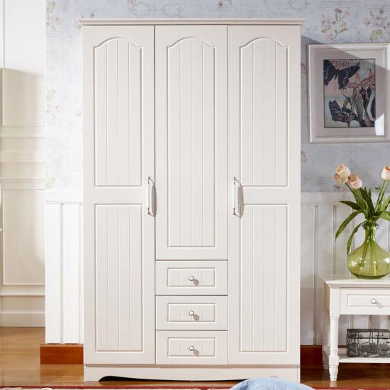 European Style White Paint Wooden Bedroom Wardrobe Gsp9 023