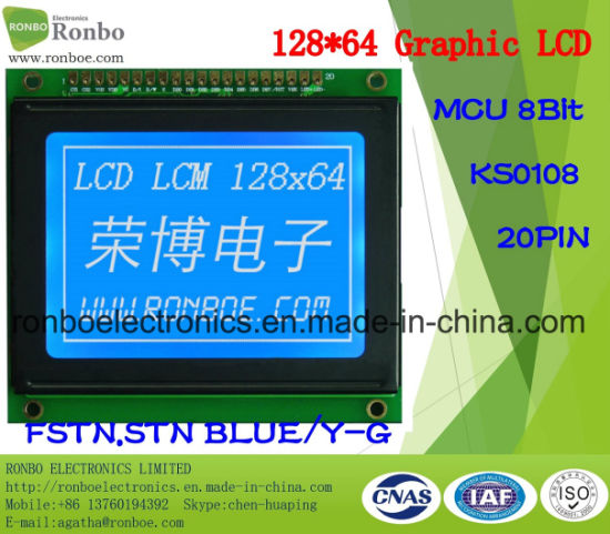 128X64 MCU Graphic LCD Module, Ks0108, 20pin, for POS, Doorbell, Medical, Cars pictures & photos