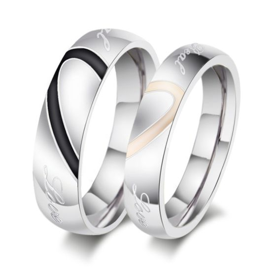 Custom Surgical Stainless Steel Love Shape Wedding Ring for Couple pictures & photos