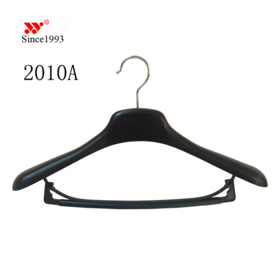 18 Inches Custom Brand Luxury Fashion Store Plastic Coat Hangers with Trouser Bar