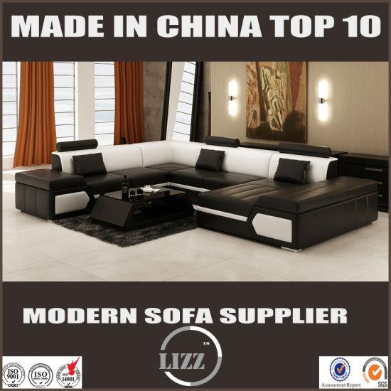 China Sectional Sofa Set Modern Furniture L Shape Leather Sofa
