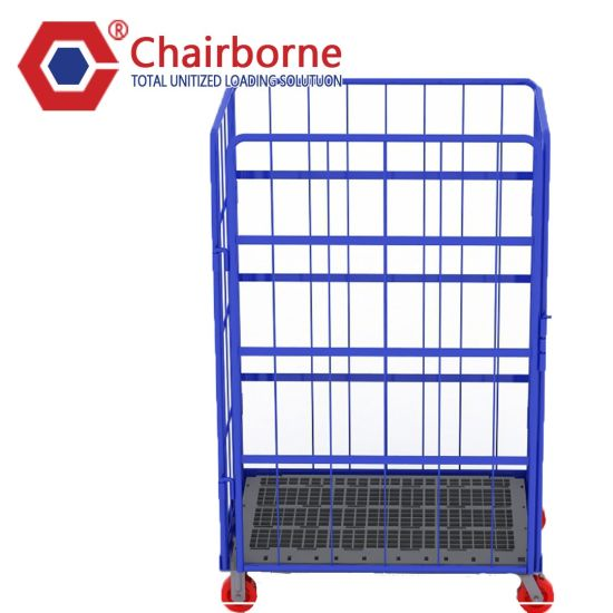 Warehouse 4 Wheels Steel Cargo Roll Cage Folding Roll Container