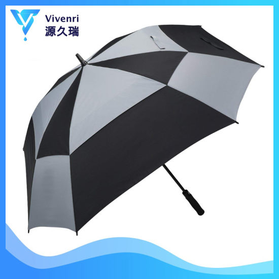 80 Inch Extra Large Golf Umbrella Double Canopy Vented Square Umbrella Windproof Automatic