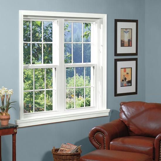 American Aluminium Single Hung Window Double Glass Sliding Window with Grill Design