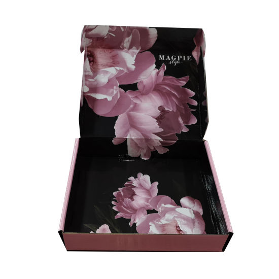 New Arrival Glossy Lamination Pink Recycled Paper Box Package for Clothes