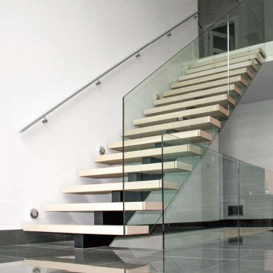 Modern House Carbon Steel Mono Beam Wooden Staircase With Wood Treads