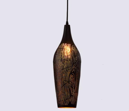 Vintage Etching Wine Bottle Shape Iron Hanging Pendant Light with Pattern