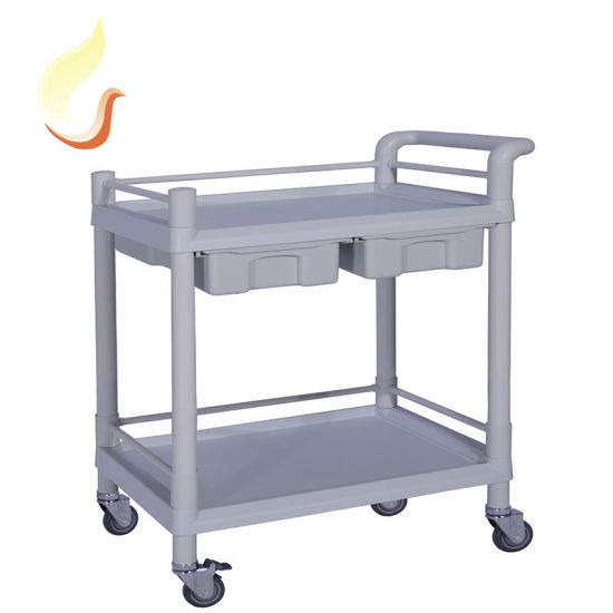 Hospital ABS Plastic Wheel Mobile Trolley Clinical Instrument Cart with Drawer and Wheels