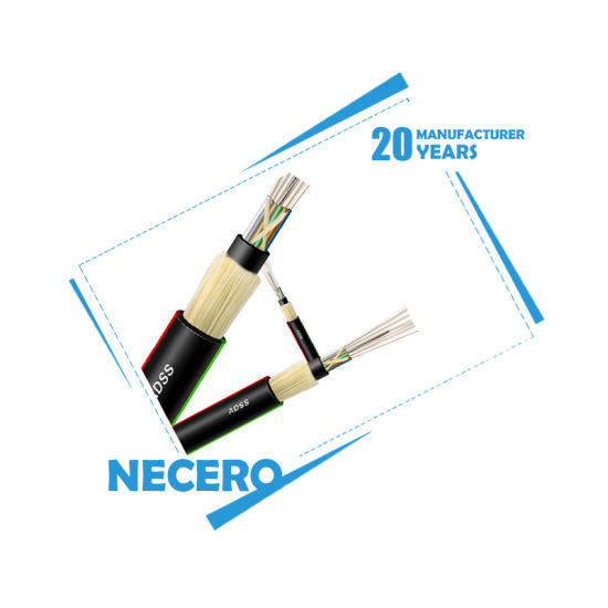 Necero ADSS 12 Cores 6 Cores G652 G657 Double Jack with UV Protection Optical Fiber Cable ADSS pictures & photos