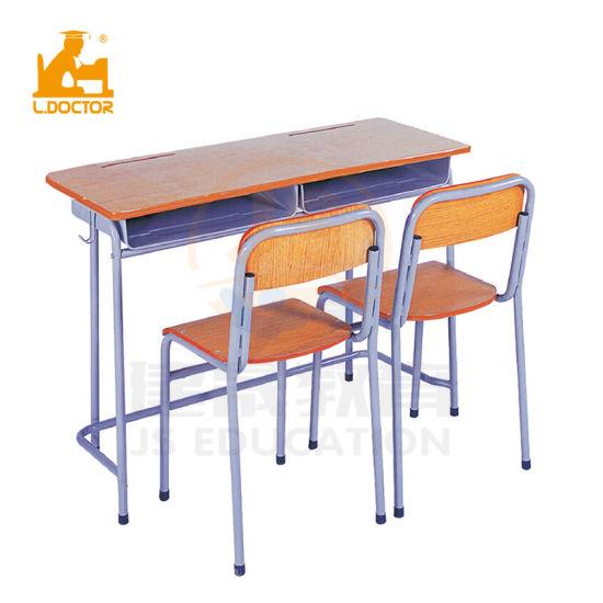 Plastic School Classroom Furniture Desk with Wood Top