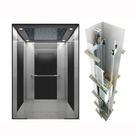 8 Persons 630kg Stainless Steel Mirror Eaching Home Residential Panoramic Villa Passenger Elevator