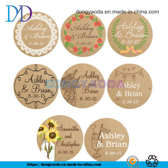 Wholesale Customized Design Adhesive Round Kraft Thank You Sticker Roll Vinyl Sticker Roll Reusable Removable Sticker Roll