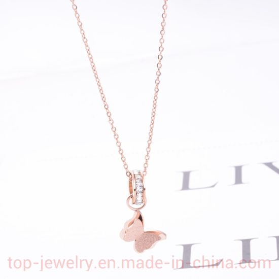 Lovely Fashion Butterfly Necklace Titanium Steel 18k Rose Gold Clavicle Chain Fashionable Gift For Women China Jewelry And Necklace For Women Price Made In China Com