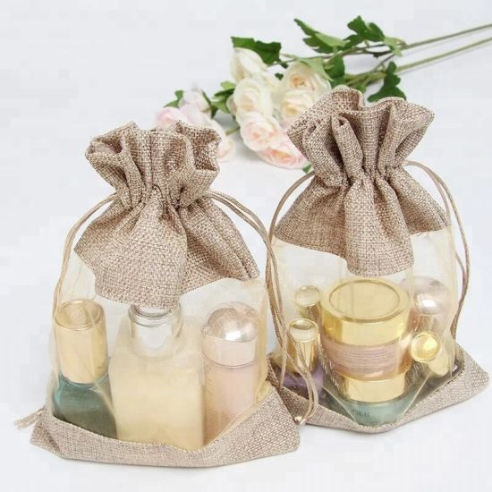 Customized Jute/PVC Crafts Gunny Cosmetics Packing Linen Aromatherapy Gift Drawstring Pouches Bag