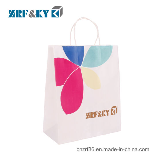 Custom White Kraft Paper Shopping Bag with Twisted Paper Handle