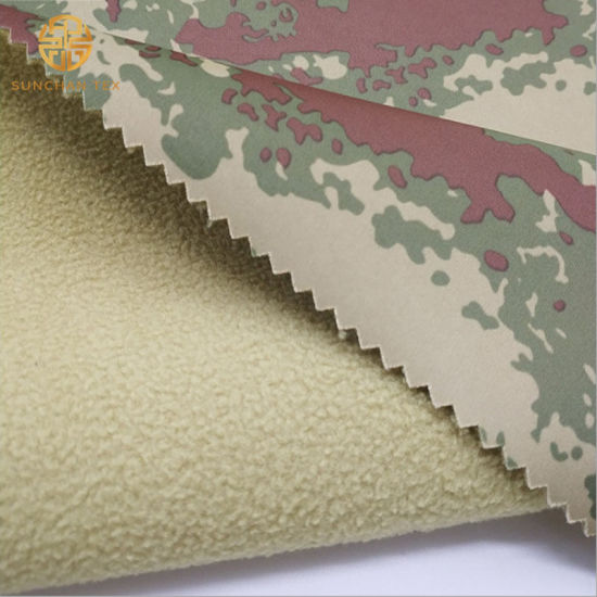 Camouflage Print 30d Knitted Hunting Uniform Fabric with Polar Fleece and TPU Film Inside