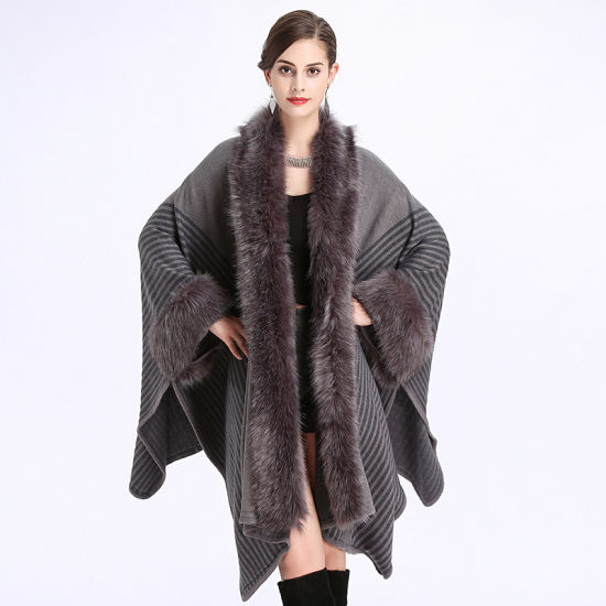 European and American Loose Fox Hair Collar Acrylic Shawl Cloak