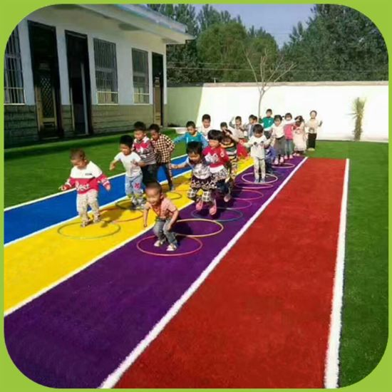 Rainbow Grass Artificial Turf for Kindergarten Flooring