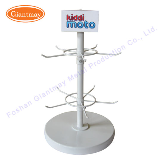 High Quality 2 Tiers Table Top Spinner Rotating Metal Wire Display Rack