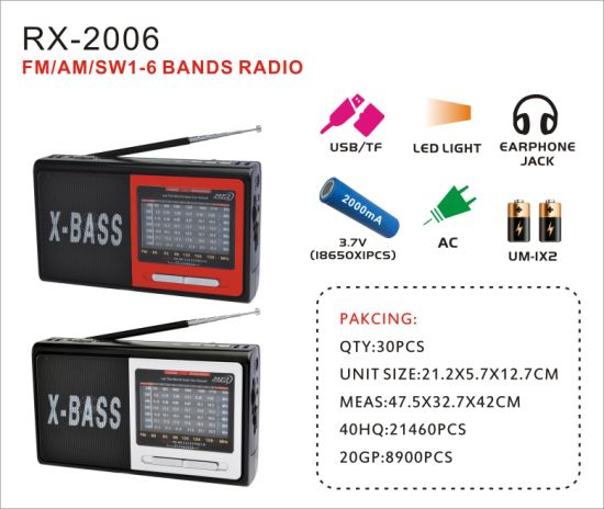 FM/Am/Sw1-6 8 Bands Portable Radio with USB/TF/Rechargeable Music Player pictures & photos