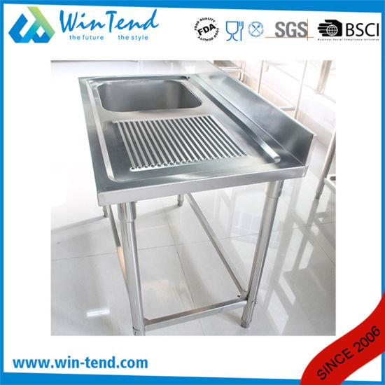 Stainless Steel Kitchen Workbench Sink Workbench on Right Side pictures & photos
