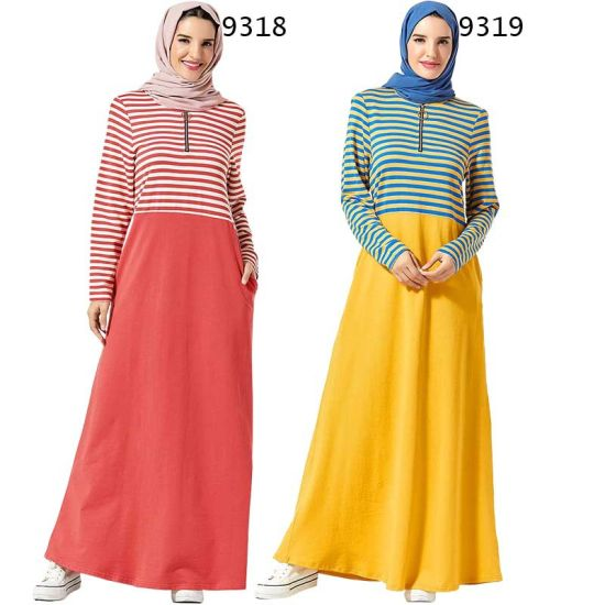 Girl/'s Long Sleeve Muslim Islamic Abayas Loose Soft Cotton A-line Maxi Dress
