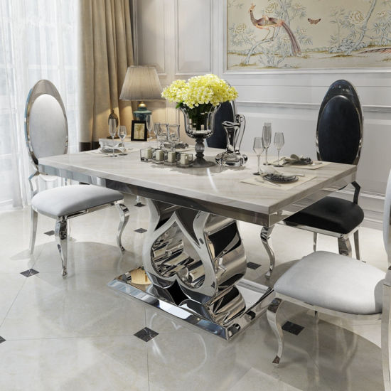 Wondrous Hot Item Modern Dining Room Furniture Stainless Steel Love Dining Table Set Download Free Architecture Designs Lukepmadebymaigaardcom