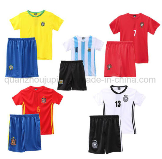 OEM Kids Children Sport Breathable Polyester Soccer Uniform Jersey pictures & photos
