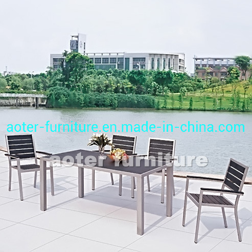 Leisure Garden Family Commercial Dining Poly Wood Top Outdoor Table and Chair Set