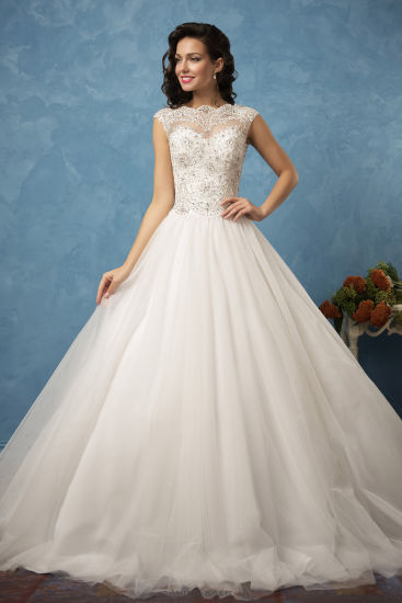 China Amelie Rocky Boat Neck Vintage Beaded Applique Wedding Gowns ...