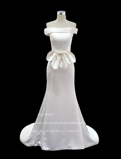 Aolanes Sheath Wedding Dress Satin Bow pictures & photos