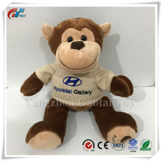 Custom Design Monkey Stuffed Toy Plush Monkey Toy with Sweater Wearing with Logo Embroidery
