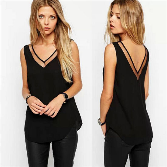 61fdf54460bfe Sexy V-Neck Sleeveless Backless Chiffon Ladies Tank Tops (50161) pictures    photos
