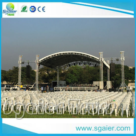 China on Sale Aluminum Studio Curved Event Stage Lighting Roof Truss Stage Equipment LED Screen Speaker Audio Stage Truss Ninja Obstacles Truss