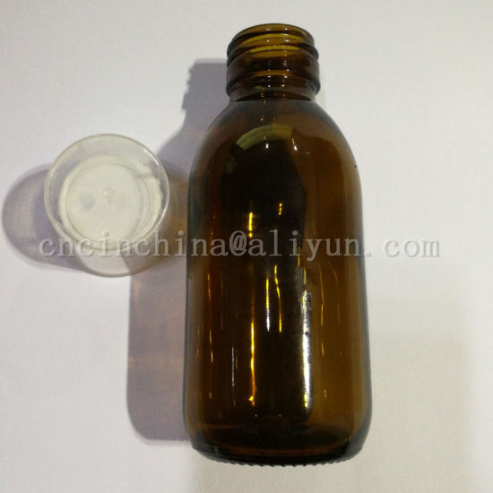 Amber Round Syrup Glass Bottle 125ml with Measure Cup pictures & photos