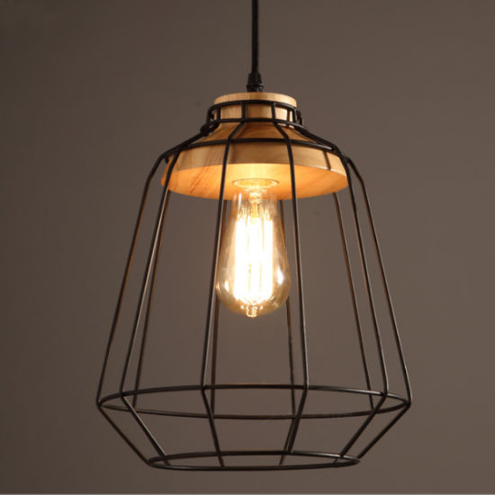 Nice Metal Wood Suspension Pendant Lamp Light In Black Color