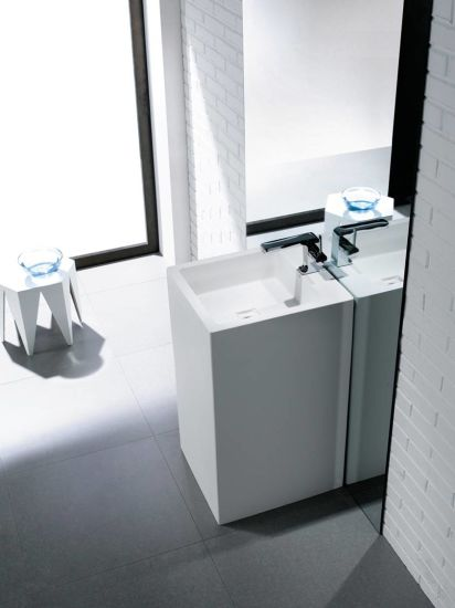 Pure White Square Pedestal Acrylic Solid Surface Bathroom Sink pictures & photos