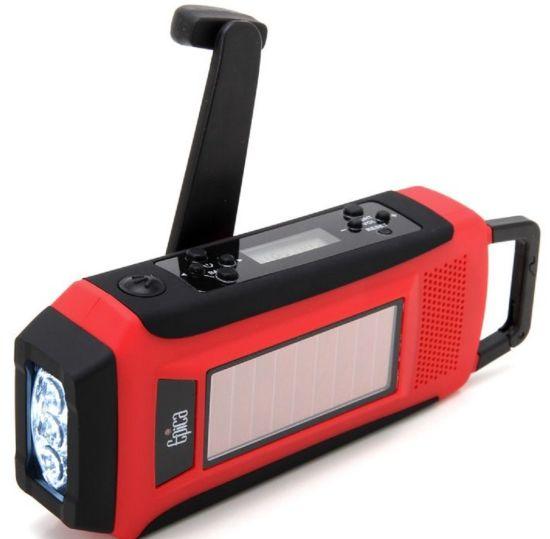 NOAA Hand Crank Emergency Solar Power LED Flashlight Torch+Charger+AM//FM Radio