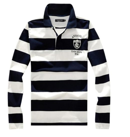 69d8d2b0da0d1 Navy Blue and White Striped Men s Long Sleeve Polo Shirt with Custom Logo