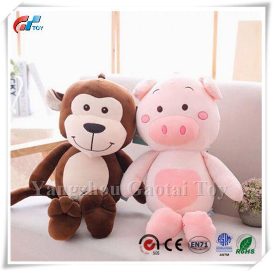 Wholesale Baby Soft Animal Plush Brown Monkey Stuffed Pink Pig Toy