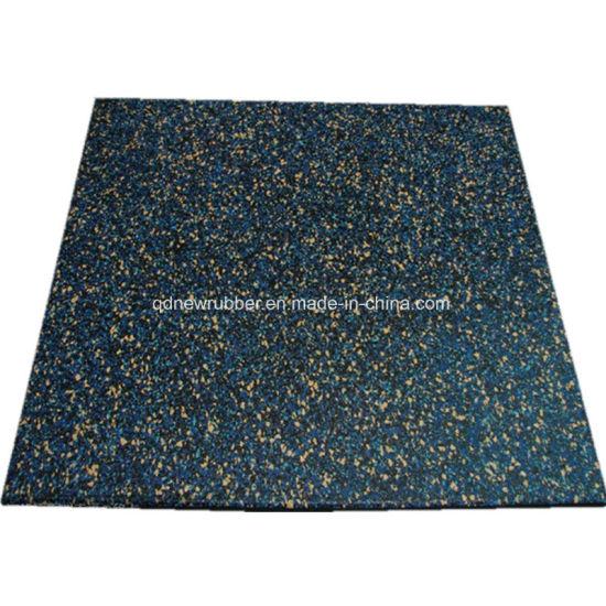 China Fitness Center Rubber Flooring Tiles With White Epdm Flecks