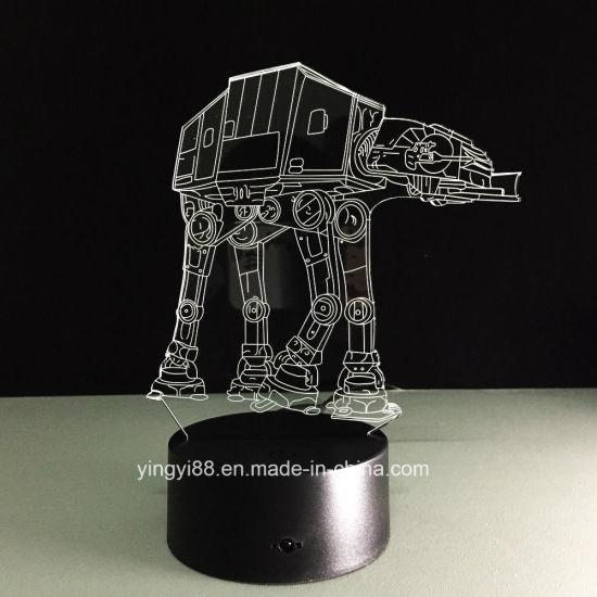 Factory Supply Star Wars 7 Colors Change Led 3d Illusion Usb Night Light Desk Lamp