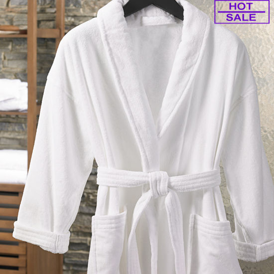 Luxury Average Size Comfortable 100% Cotton Shawl Collar Velour Bathrobe
