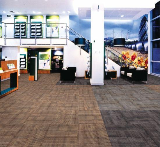 Stripe Design Level Loop PP Waterproof Office Carpet Tiles 50X50