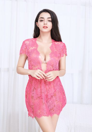 Pink Sexy Women Lace Transparent Fantasy Baby Doll Lingerie pictures & photos