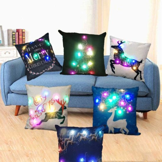 Settee Coloured LED Light Soft Burlap Pillow Case for Christmas Decoration pictures & photos
