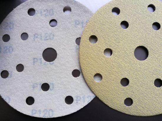 150mm Gold Aluminum Oxide Velcro Sandpaper Disc-Sanding Disc for Automobile