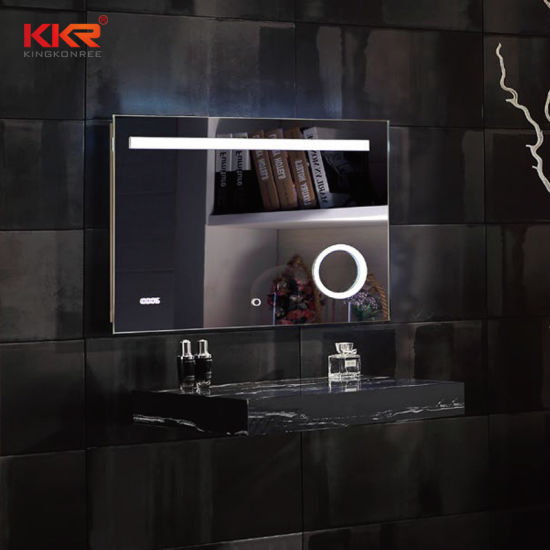Custom Solid Surface Stone Frame Bathroom Ware Mirrors with LED and Bluetooth
